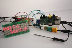 Photo: Hello world, using the WiringPi library to control an LED display.