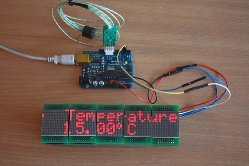  An Arduino driving 5 MLMC modules displaying the current temperature